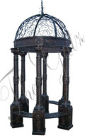 "ROUND CAST IRON VICTORIAN INSPIRED GAZEBO, DOME TOP, BENCH SEATING 126"" TALL"