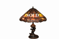 Handel Sunset Palm Overlay Table Lamp Shade with Mermaid Base