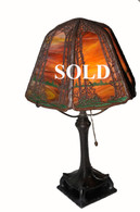 Handel Pine Tree Overly Boudoir Table Lamp Deciduous Pattern on Rare Raised Footed Base
