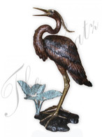 "LARGE BRONZE SINGLE HERON FOUNTAIN OR STATUE 64"" TALL"