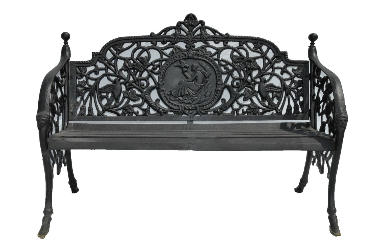 Cast Of Benched : Cast iron bench garden outdoor heavy