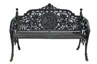 Cast Iron Garden Bench Featuring Center Medallion of Girl With Bird