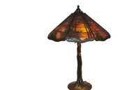 Antique Handel Deciduous Tree Table Lamp Sunset Overlay with Crooked Tree Trunk Base