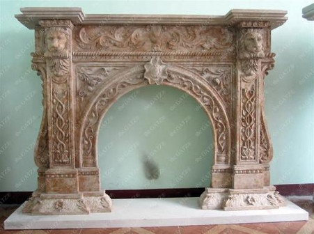 Unique Design on This Marble Fireplace Mantel features Lion's Head ...