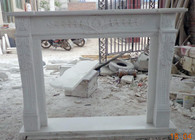 Hand carved marble fireplace mantel with acanthus carvings