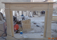 Hand Carved marble fireplace mantel in egyptian cream beige #8416