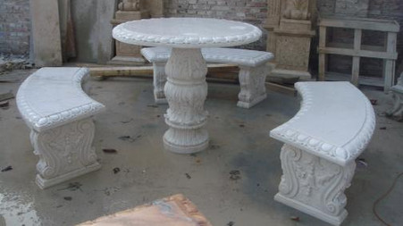 CLASSIC HAND CARVED MARBLE OUTDOOR GARDEN PATIO SET, TABLE AND THREE BENCHES