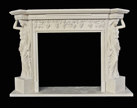 Greco Roman Hand Carved Marble Fireplace