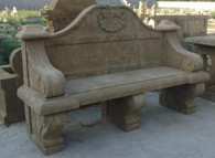 LARGE OLD WORLD STYLE MARBLE GARDEN BENCH WITH BACK, CLASSIC DESIGN
