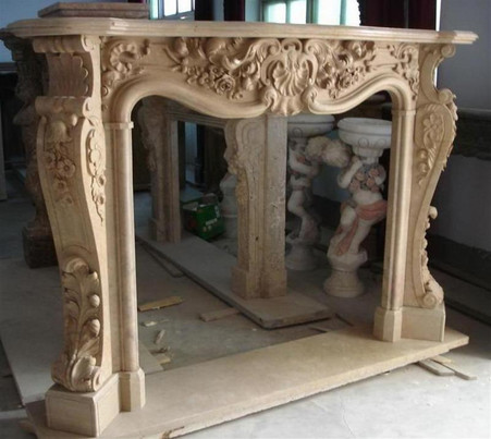 HAND CARVED MARBLE FIREPLACE MANTEL, FRENCH, ROCOCO, BAROQUE STYLE Overall  Dimensions: 78.75