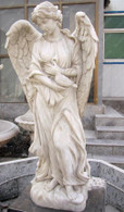 "BEAUTIFUL HAND CARVED MARBLE ANGEL WITH BIRD, 50"" TALL, RELIGIOUS"