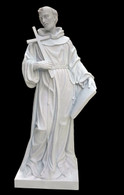 Fantastic Religious Marble Statue of St. Francis with Cross