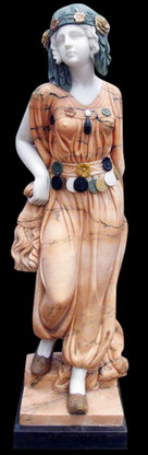 Hand Carved Marble Female Garden Statue Art Deco Style