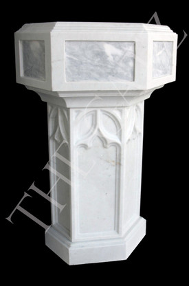 Hand Carved Marble Religious  Gothic Baptismal Font