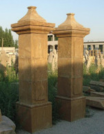 "PAIR OF CLASSIC CARVED MARBLE ESTATE ENTRY COLUMNS CARVED FROM SOLID BLOCK, 98.5"" TALL"