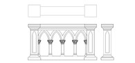 Wonderfully Designed Hand Carved Marble Gothic Church Railing