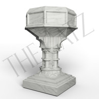 Hand Carved Marble Gothic Inspired Church Baptismal