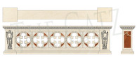 Custom Designed Hand Carved Marble Gothic Church Railing