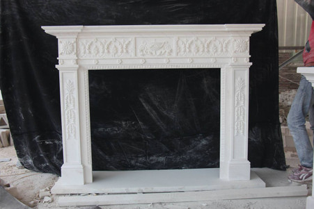 Hand Carved French Design Marble Fireplace Mantel #8016