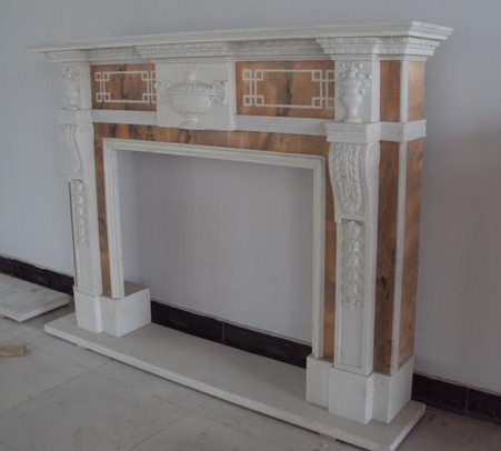 Fabulous Two Tone Marble Fireplace Surround in Sunset Orange and ...
