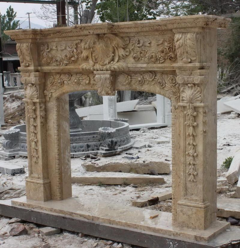 Hand Carved Marble Travertine Fireplace Mantel Heavily Carved And Ornate With French