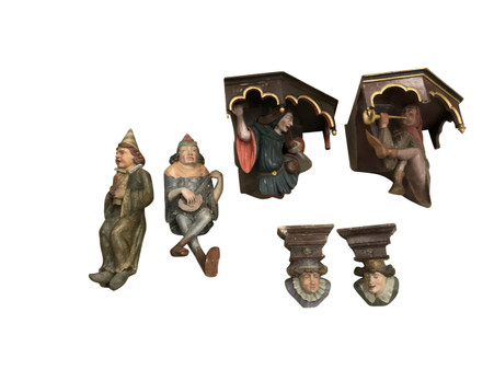 Whimsical Group of Antique Hand Carved & Hand Painted Jesters, 19th Century