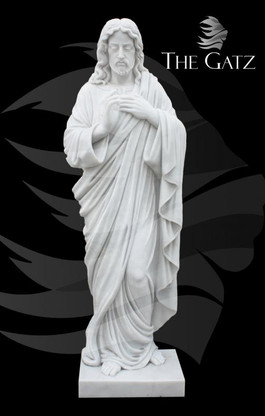 Hand carved statue of Jesus Sacred Heart. The carving detail is really exceptional in this piece. All carved from solid block of marble. Measures: 65 tall.  Before purchasing, please contact us for availability and shipping quote.