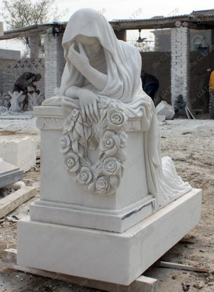 MARBLE LADY MONUMENT STATUE FEATURING FEMALE WEEPING OVER TOMBSTONE Measures: 35 long x 35 tall x 17.5 wide.