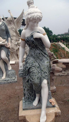"TWO TONE MARBLE STATUE FEATURING WOMAN SITTING IN THOUGHT, 51"" TALL"