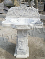 SINGLE BOWL, PEDESTAL STYLE MARBLE BATHROOM SINK OR VANITY, BOTH INDOOR AND OUTDOOR USE, SHELL CARVINGS