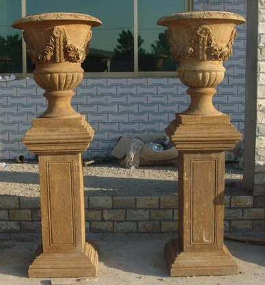 "PAIR OF HAND CARVED MARBLE URNS WITH PEDESTALS, ANTIQUE STYLE FINISH 75"" TALL"