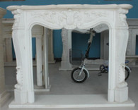 Hand Carved Marble Fireplace Mantel in Premium White- Elegant French Design #2680