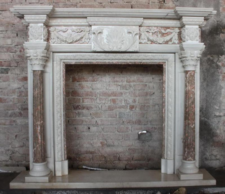 Classic Two Tone Marble Fireplace Mantel includes Ribbon and ...