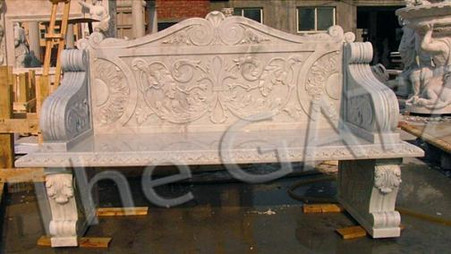 FABULOUS MARBLE GARDEN BENCH WITH TRADITIONAL FLORAL AND SCROLL ARM RESTS