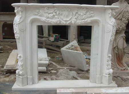 Beautiful French Style Marble Fireplace Mantel, Featured in White ...
