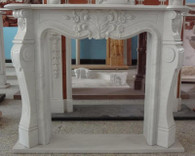 WHITE MARBLE FIREPLACE MANTEL WITH CLASSIC FRENCH DESIGN