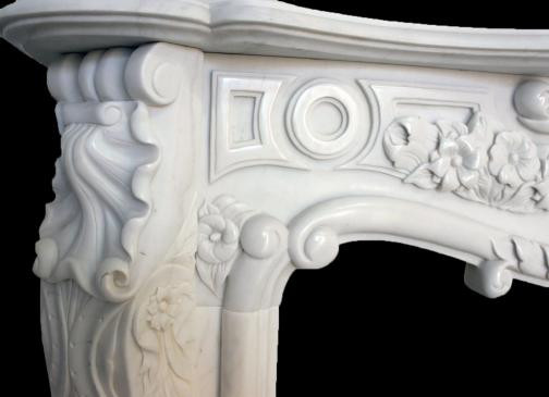 Solid marble fireplace mantel french design white marble ebay - Solid stone fireplace mantels with nice appearance ...