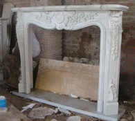 LOVELY HAND CARVED MARBLE FIREPLACE MANTEL FEATURES ELEGANT FRENCH DESIGN