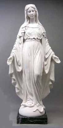 "HAND CARVED MARBLE CHURCH STATUE OF SACRED MARY, RELIGIOUS 55"" TALL"