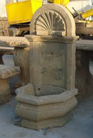 HAND CARVED MARBLE WALL FOUNTAIN WITH NICELY CARVED SHELL DESIGN AT TOP