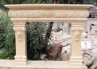Newly finished french design mantel. This mantel follows a traditional Tuscan design, very simple but elegant. This particular mantel is carved from Egyptian beige marble but can be cut out of any color. Measures: 55.5 wide x 50 tall x 13.75 deep. Opening Measures: 32.5 wide x 35 tall.