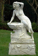 ATTRACTIVE CONCRETE LADY WITH BOWL GARDEN STATUE FEATURES FOUNTAIN OR PLANTER, EUROPEAN STYLING