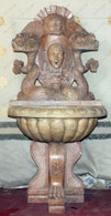 Hand Carved Marble Wall Fountain in Autumn Beige