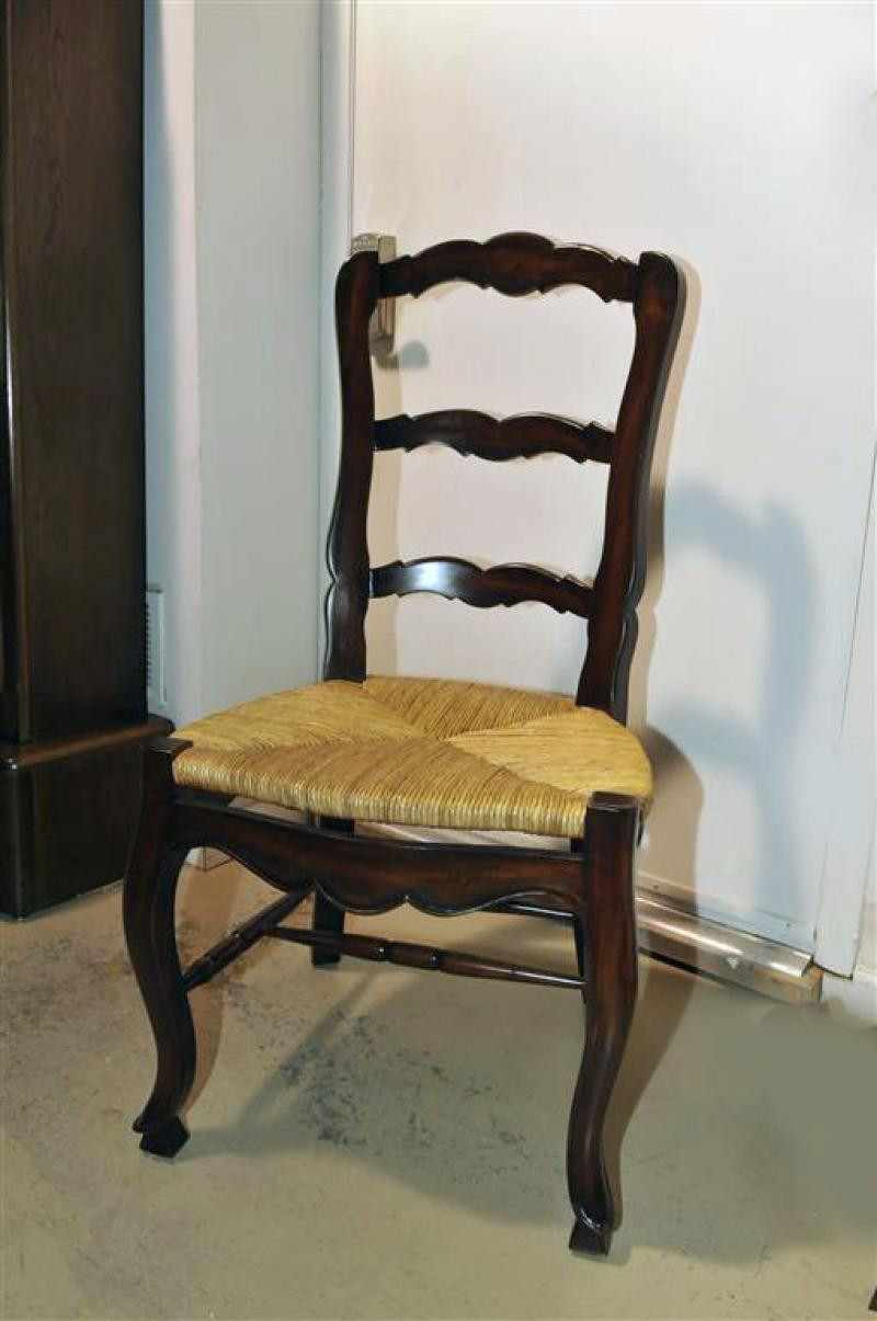 French Country Dining Chairs Mahogany Frame with Rush Seats,Set of ...