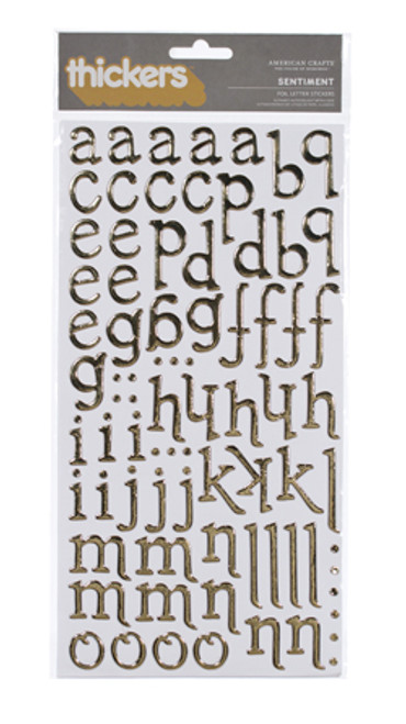 American Crafts Thickers: SENTIMENT   Gold Foil Chipboard