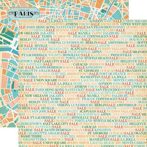 Carta Bella Metropolitan Girl 12x12 Paper: Shopping Cities
