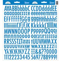 Doodlebug Skinny Cardstock Alphabet Stickers: Blue Jean