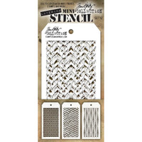 Tim Holtz Mini-Stencil Sets (3/Pkg): Set 12
