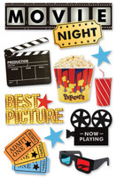 Paper House 3D Sticker: Movie Night