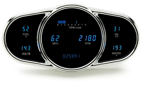 Dakota Digital Dash Universal 6 Gauge Cluster Elliptical Multi-Level System VFD3-1009